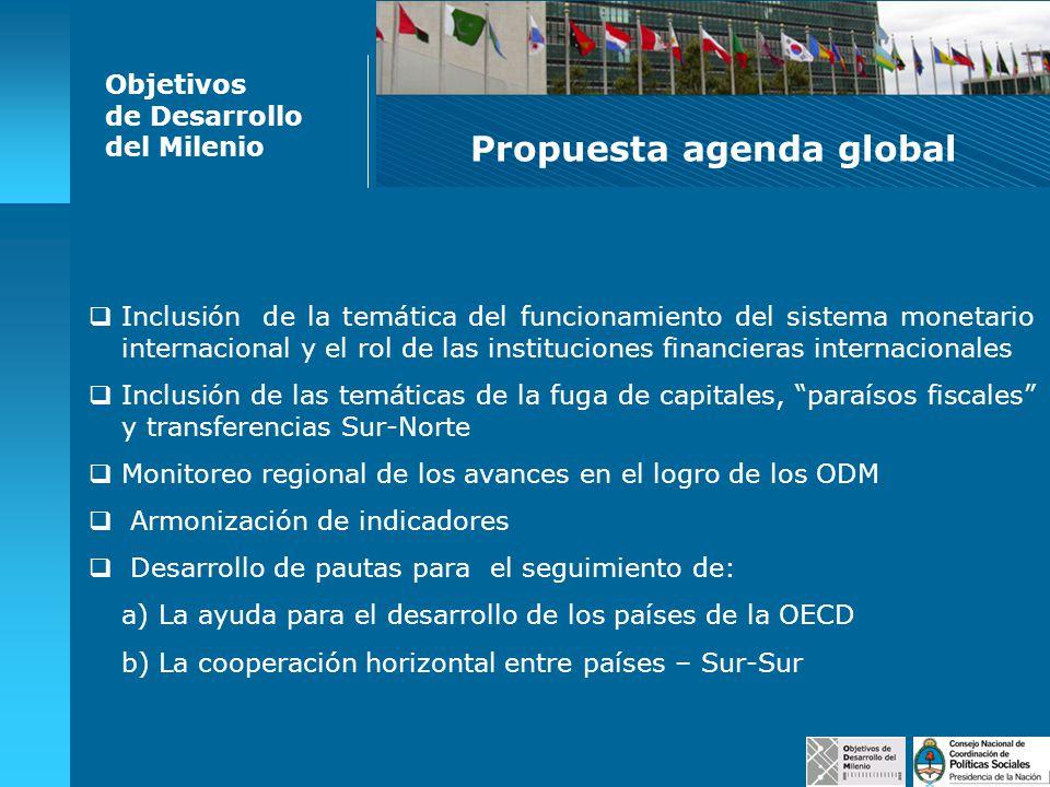 Propuesta agenda global Objetivos de Desarrollo del Milenio Coordinar / Compatibilizar con otras iniciativas de carácter regional ya existentes de modo de racionalizar recursos y no duplicar esfuerzos.