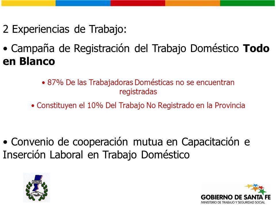 2 Experiencias de Trabajo: Campaña de Registración del Trabajo Doméstico Todo en Blanco 87% De las Trabajadoras Domésticas no se encuentran registrada