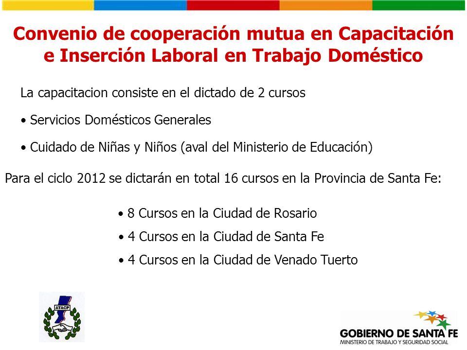 Servicios Domésticos Generales Cuidado de Niñas y Niños (aval del Ministerio de Educación) La capacitacion consiste en el dictado de 2 cursos Para el
