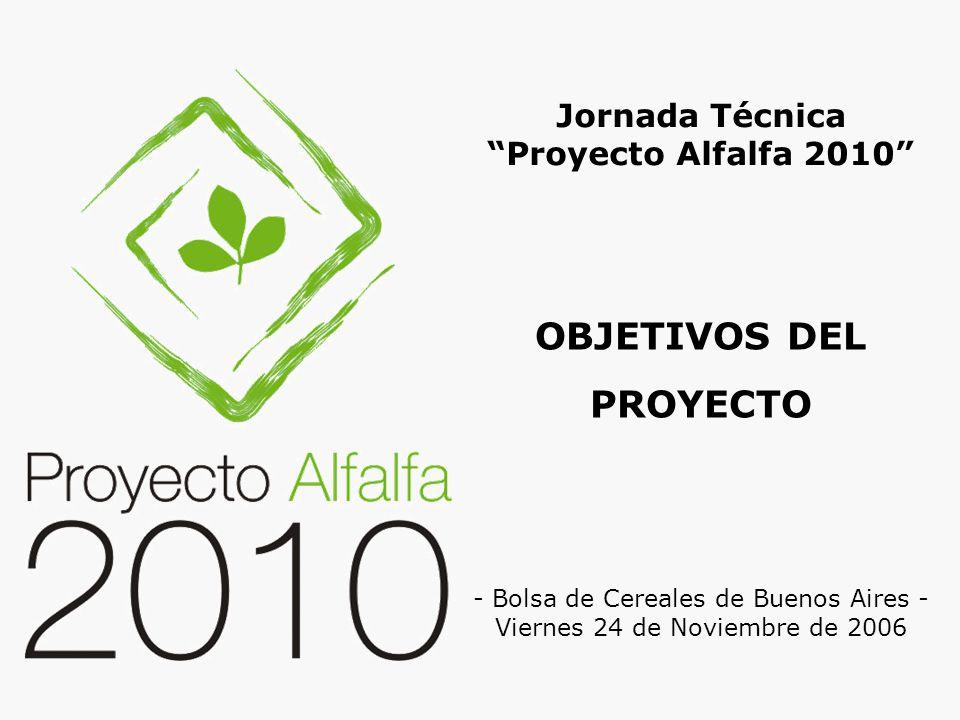 OBJETIVOS DEL PROYECTO Jornada Técnica Proyecto Alfalfa 2010 - Bolsa de Cereales de Buenos Aires - Viernes 24 de Noviembre de 2006