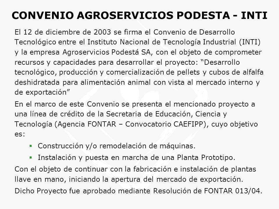 CONVENIO AGROSERVICIOS PODESTA - INTI El 12 de diciembre de 2003 se firma el Convenio de Desarrollo Tecnológico entre el Instituto Nacional de Tecnolo