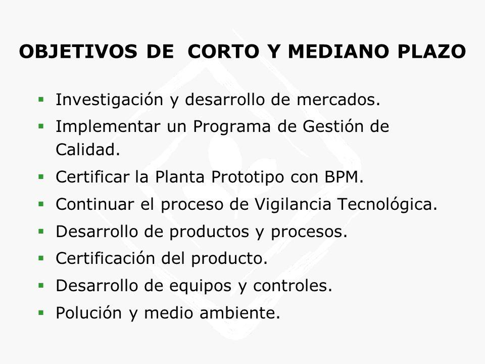 OBJETIVOS DE CORTO Y MEDIANO PLAZO Investigación y desarrollo de mercados. Implementar un Programa de Gestión de Calidad. Certificar la Planta Prototi