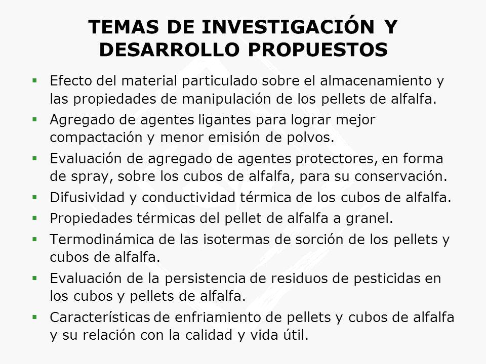 TEMAS DE INVESTIGACIÓN Y DESARROLLO PROPUESTOS Efecto del material particulado sobre el almacenamiento y las propiedades de manipulación de los pellet