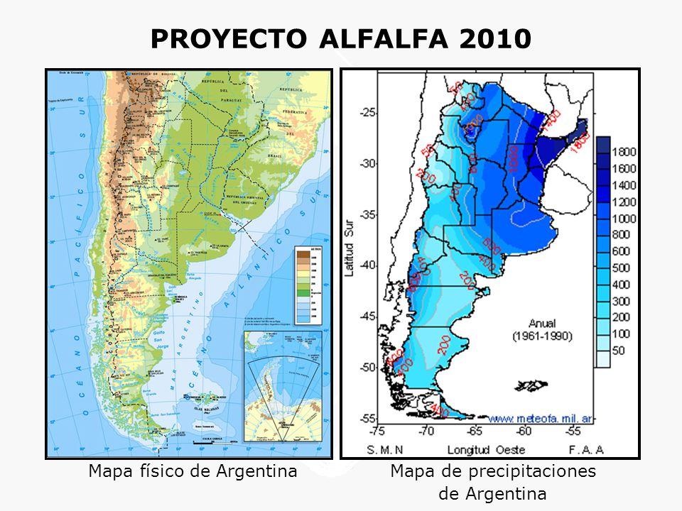 PROYECTO ALFALFA 2010 Mapa físico de Argentina Mapa de precipitaciones de Argentina