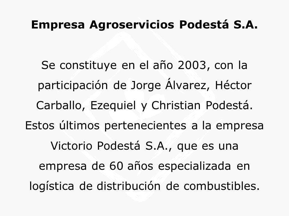 Empresa Agroservicios Podestá S.A. Se constituye en el año 2003, con la participación de Jorge Álvarez, Héctor Carballo, Ezequiel y Christian Podestá.