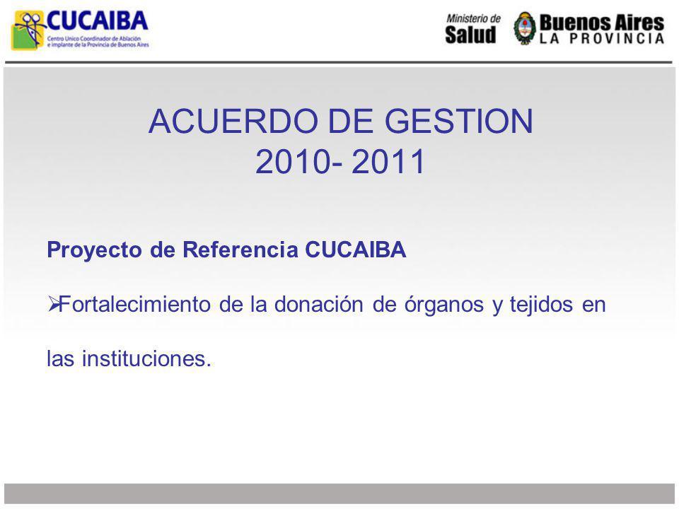 ACUERDO DE GESTION 2010- 2011 Proyecto de Referencia CUCAIBA Fortalecimiento de la donación de órganos y tejidos en las instituciones.
