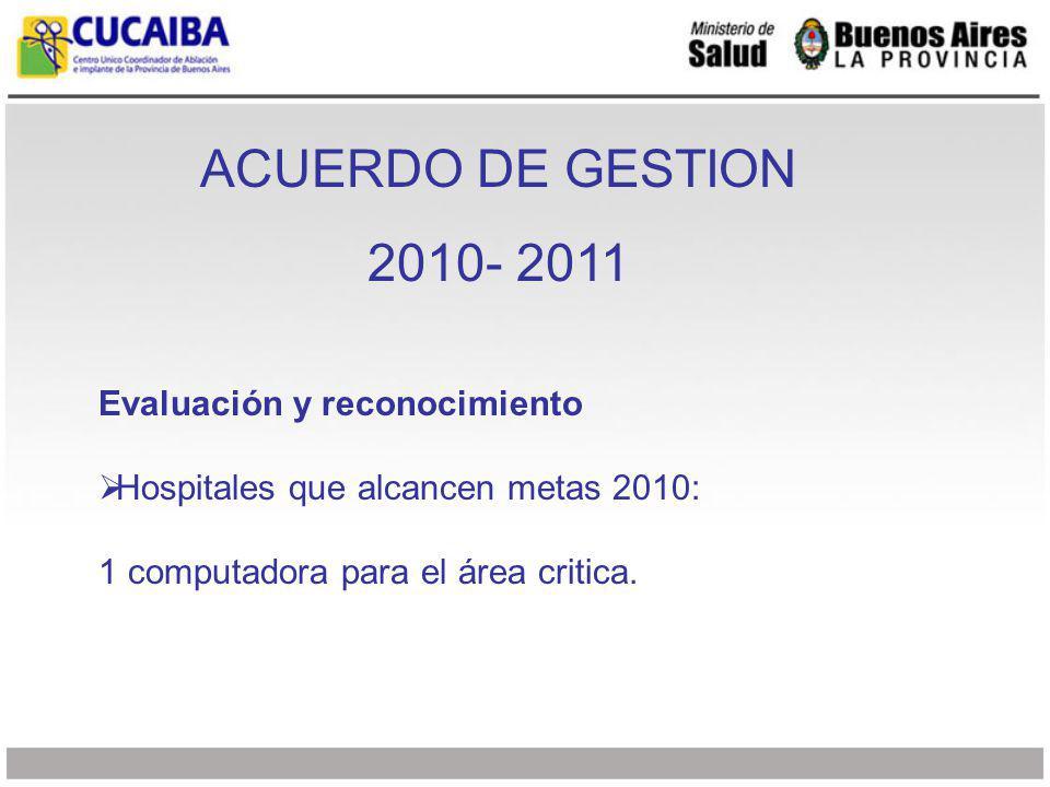 ACUERDO DE GESTION 2010- 2011 Hospitales que alcancen metas 2011 Deberán presentar 1 candidato para ser considerado en el sorteo de 3 becas de formación en procuración de órganos a realizarse en España de 2 meses de duración.
