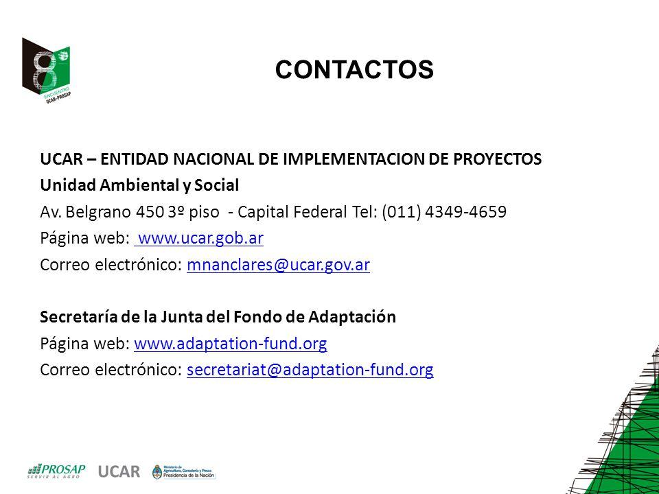 CONTACTOS UCAR – ENTIDAD NACIONAL DE IMPLEMENTACION DE PROYECTOS Unidad Ambiental y Social Av.
