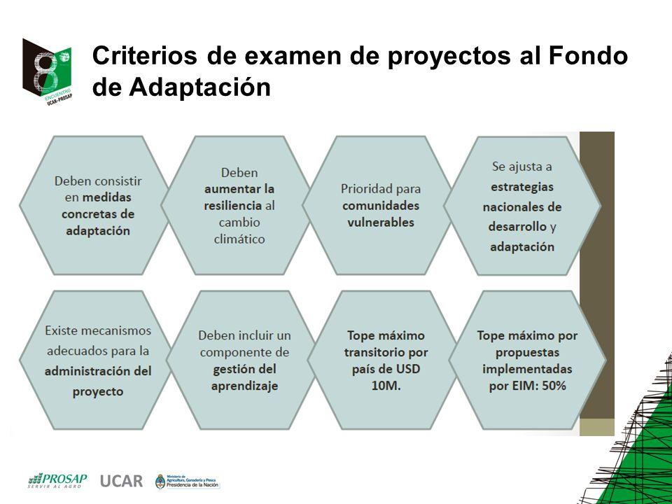Criterios de examen de proyectos al Fondo de Adaptación