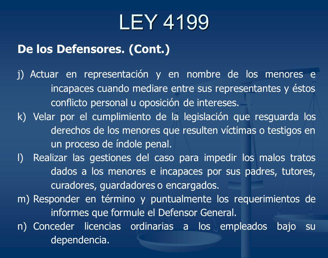 LEY 4199 De los Defensores.
