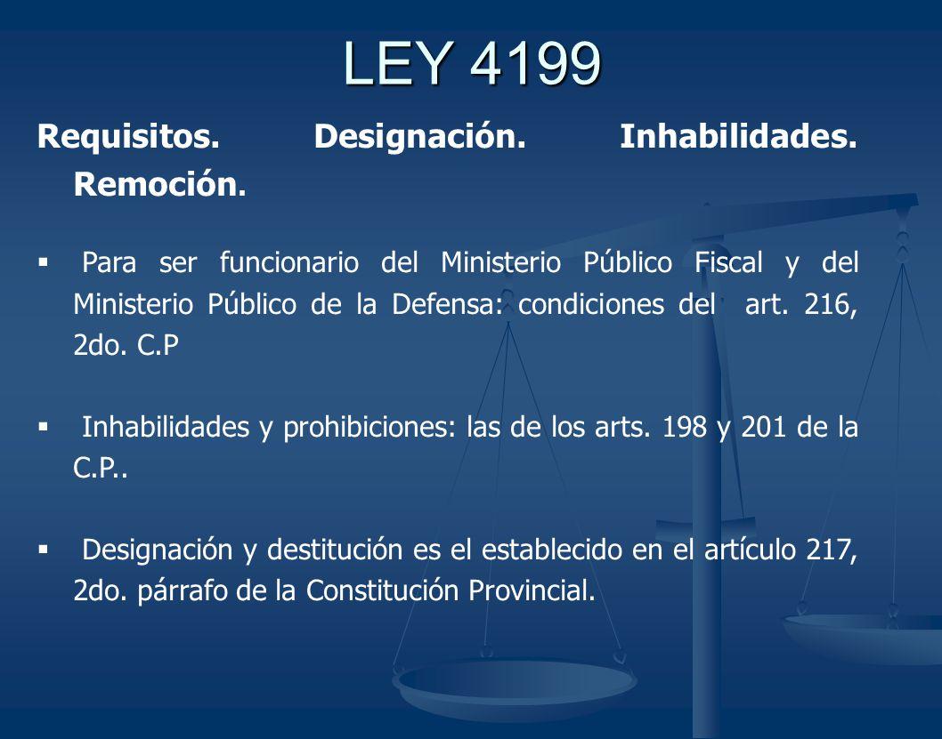 LEY 4199 Requisitos.Designación. Inhabilidades. Remoción.