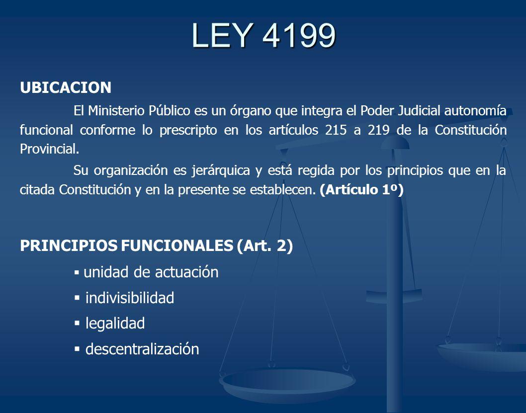 LEY 4199 UBICACION El Ministerio Público es un órgano que integra el Poder Judicial autonomía funcional conforme lo prescripto en los artículos 215 a 219 de la Constitución Provincial.