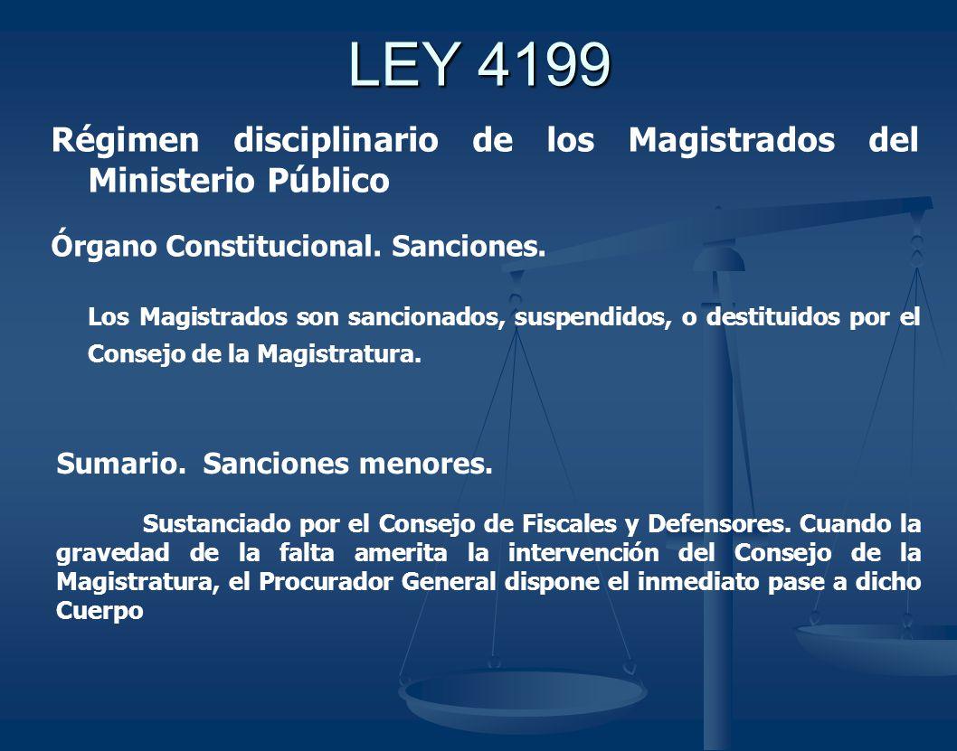 LEY 4199 Régimen disciplinario de los Magistrados del Ministerio Público Órgano Constitucional.