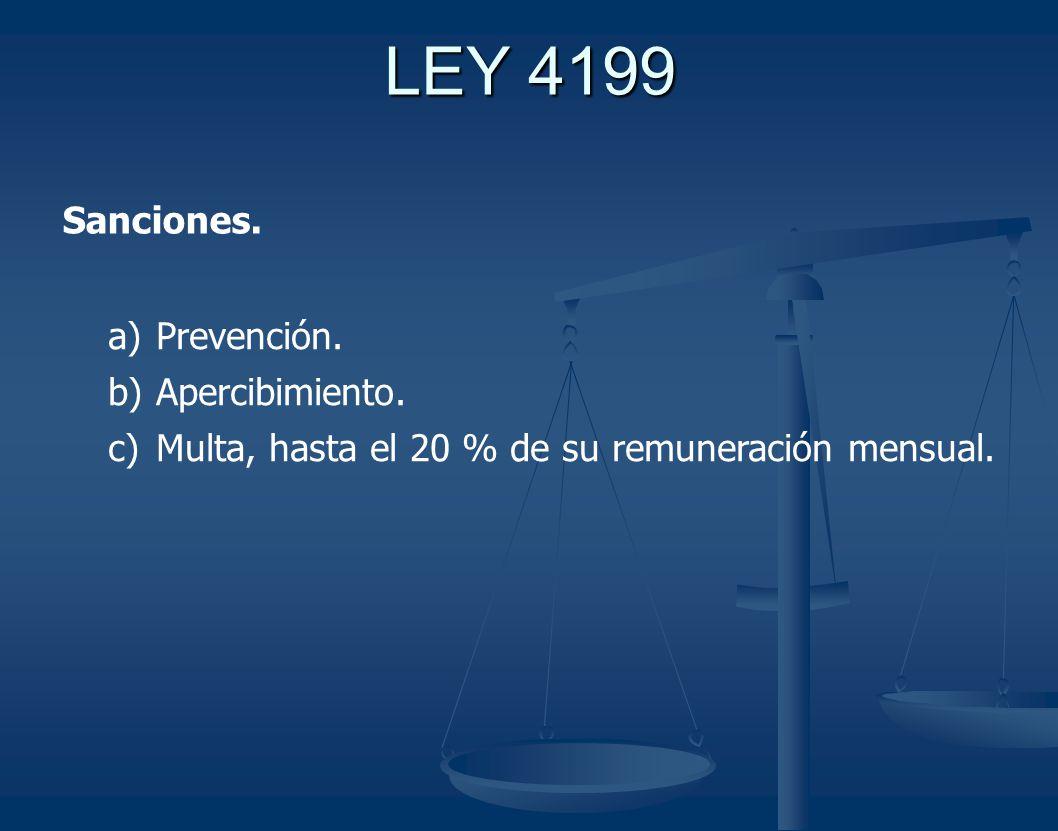 Sanciones. a) Prevención. b) Apercibimiento. c) Multa, hasta el 20 % de su remuneración mensual.