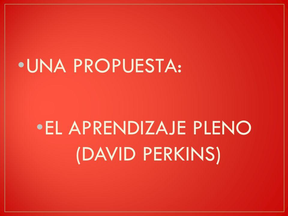 UNA PROPUESTA: EL APRENDIZAJE PLENO (DAVID PERKINS)