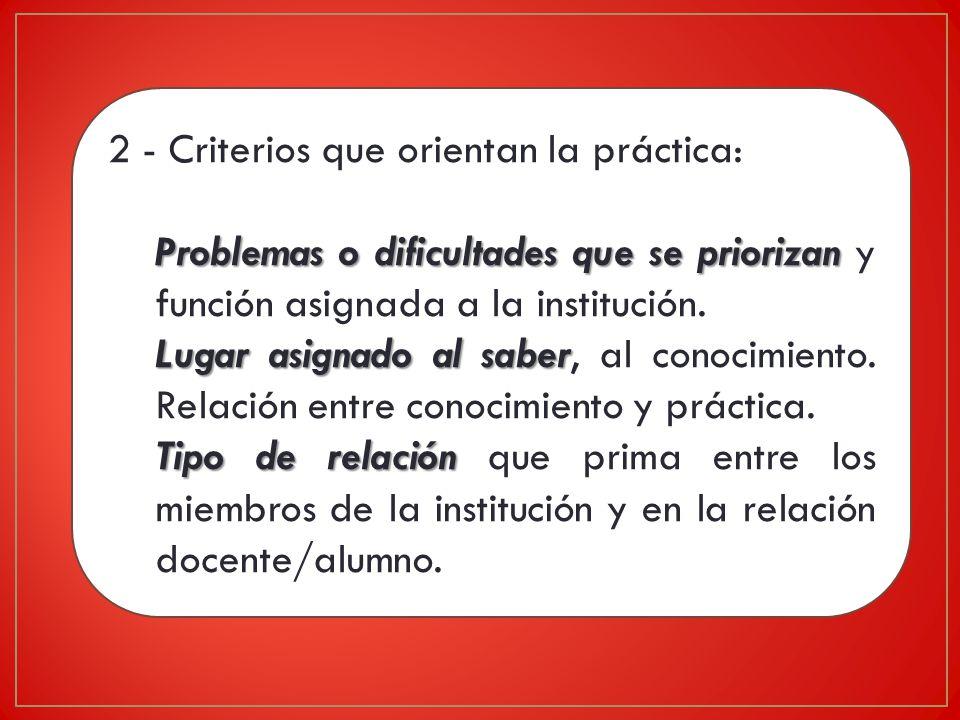 2 - Criterios que orientan la práctica: Problemas o dificultades que se priorizan Problemas o dificultades que se priorizan y función asignada a la institución.