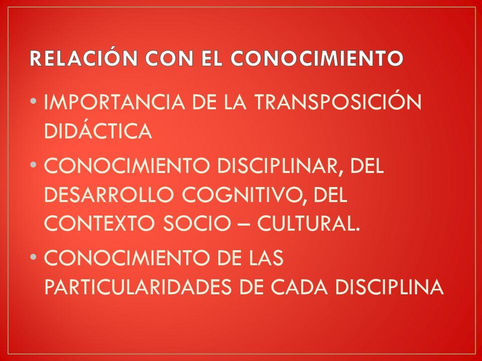 IMPORTANCIA DE LA TRANSPOSICIÓN DIDÁCTICA CONOCIMIENTO DISCIPLINAR, DEL DESARROLLO COGNITIVO, DEL CONTEXTO SOCIO – CULTURAL.
