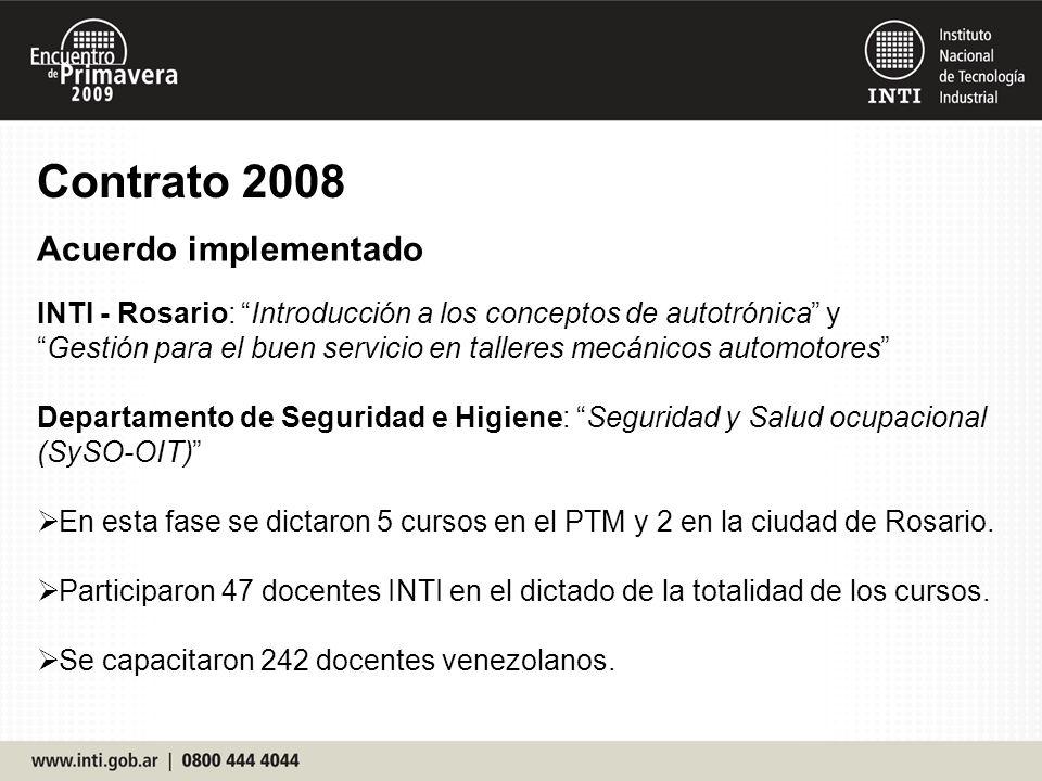INTI - Rosario: Introducción a los conceptos de autotrónica y Gestión para el buen servicio en talleres mecánicos automotores Departamento de Seguridad e Higiene: Seguridad y Salud ocupacional (SySO-OIT) En esta fase se dictaron 5 cursos en el PTM y 2 en la ciudad de Rosario.