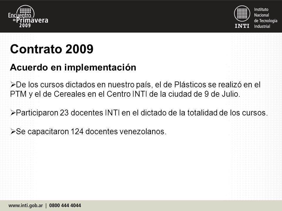 Contrato 2009 Acuerdo en implementación De los cursos dictados en nuestro país, el de Plásticos se realizó en el PTM y el de Cereales en el Centro INTI de la ciudad de 9 de Julio.