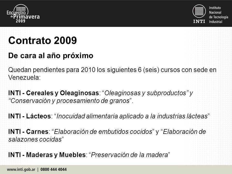 Contrato 2009 De cara al año próximo Quedan pendientes para 2010 los siguientes 6 (seis) cursos con sede en Venezuela: INTI - Cereales y Oleaginosas: Oleaginosas y subproductos y Conservación y procesamiento de granos.