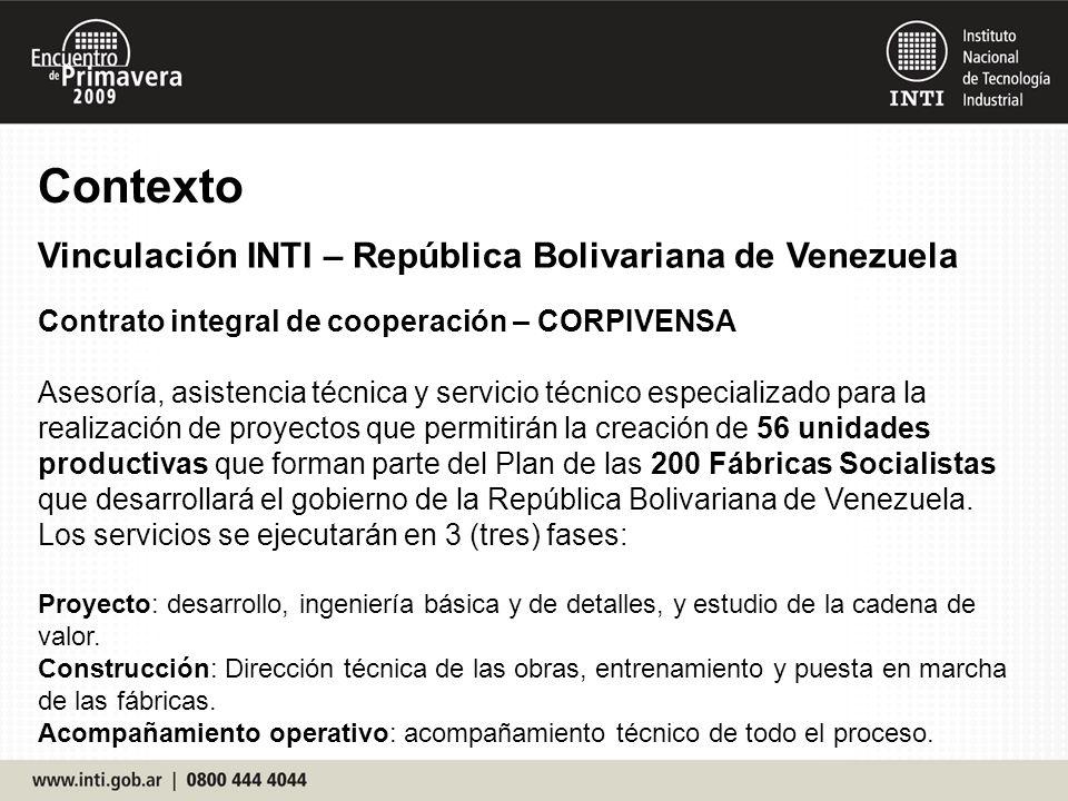 Contrato integral de cooperación – CORPIVENSA Asesoría, asistencia técnica y servicio técnico especializado para la realización de proyectos que permitirán la creación de 56 unidades productivas que forman parte del Plan de las 200 Fábricas Socialistas que desarrollará el gobierno de la República Bolivariana de Venezuela.