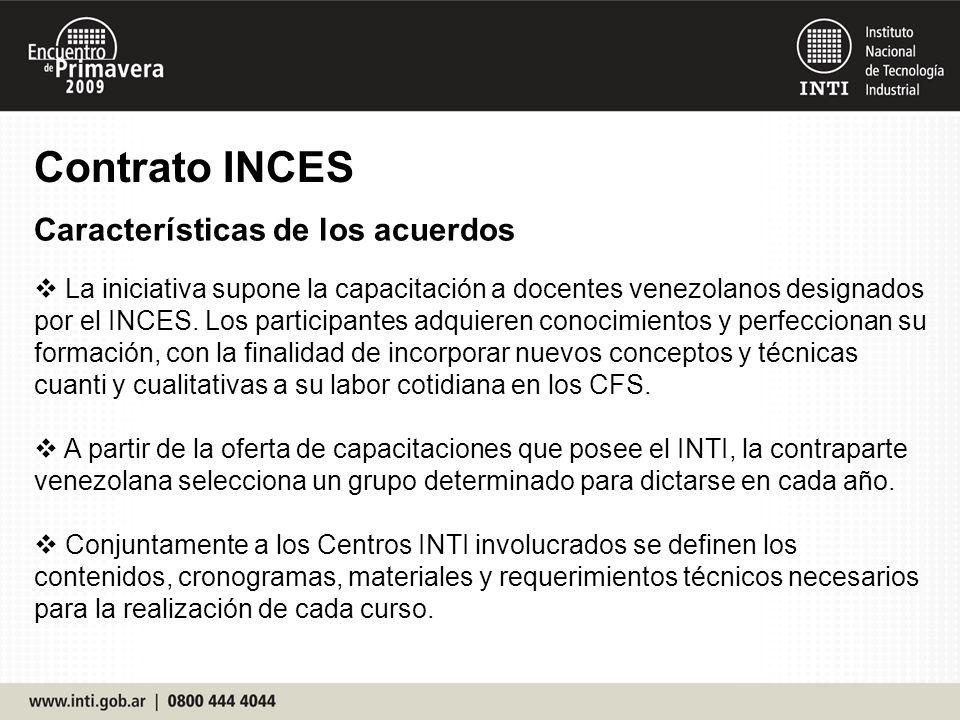 Contrato INCES Características de los acuerdos La iniciativa supone la capacitación a docentes venezolanos designados por el INCES.