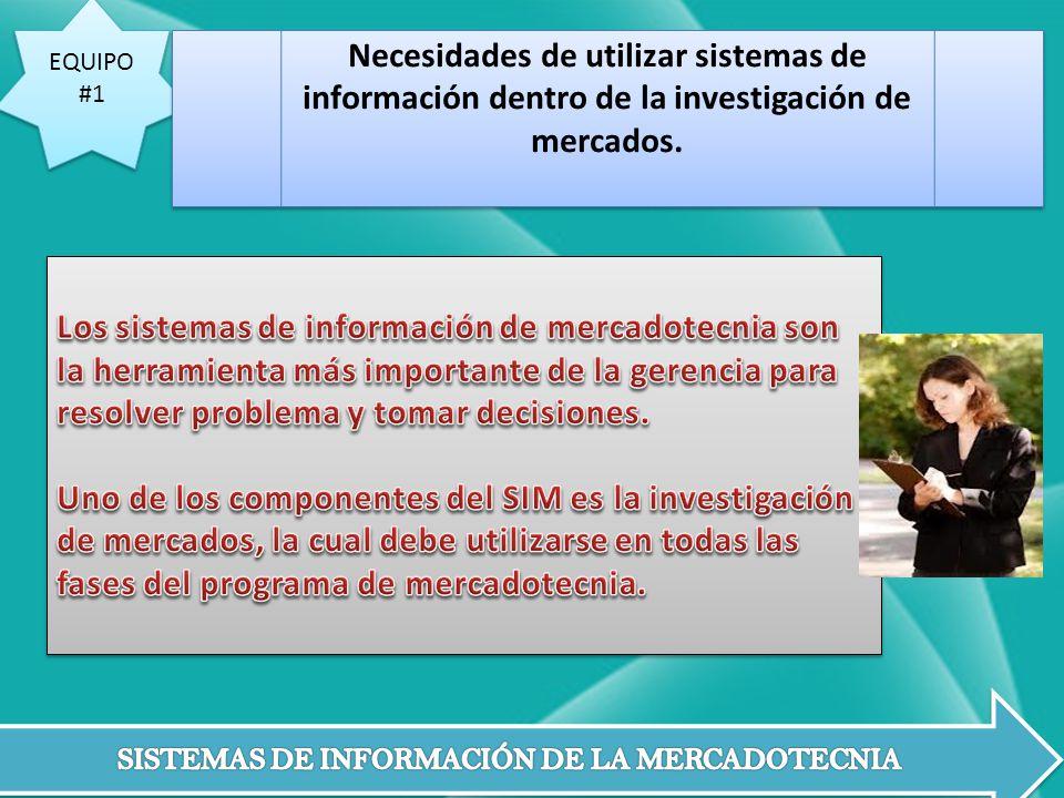 EQUIPO #1 EQUIPO #1 Necesidades de utilizar sistemas de información dentro de la investigación de mercados.