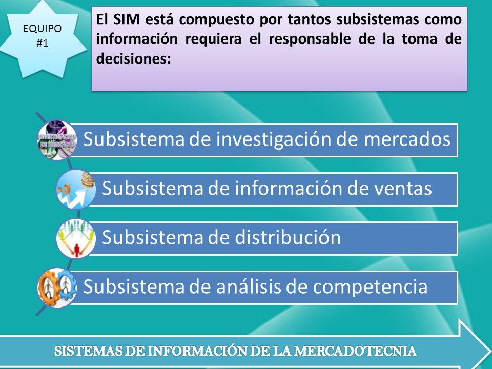 EQUIPO #1 EQUIPO #1 El SIM está compuesto por tantos subsistemas como información requiera el responsable de la toma de decisiones: Subsistema de inve