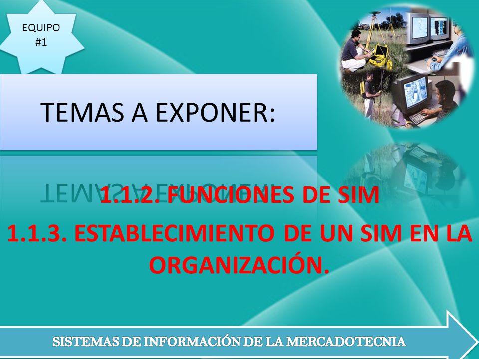 EQUIPO #1 EQUIPO #1 1.1.2. FUNCIONES DE SIM 1.1.3. ESTABLECIMIENTO DE UN SIM EN LA ORGANIZACIÓN.