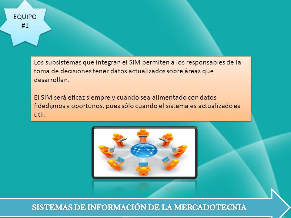 EQUIPO #1 EQUIPO #1 Los subsistemas que integran el SIM permiten a los responsables de la toma de decisiones tener datos actualizados sobre áreas que