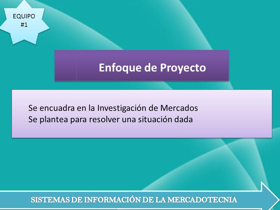 EQUIPO #1 EQUIPO #1 Se encuadra en la Investigación de Mercados Se plantea para resolver una situación dada Se encuadra en la Investigación de Mercado