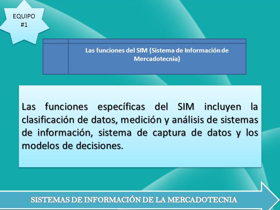 EQUIPO #1 EQUIPO #1 Las funciones específicas del SIM incluyen la clasificación de datos, medición y análisis de sistemas de información, sistema de c