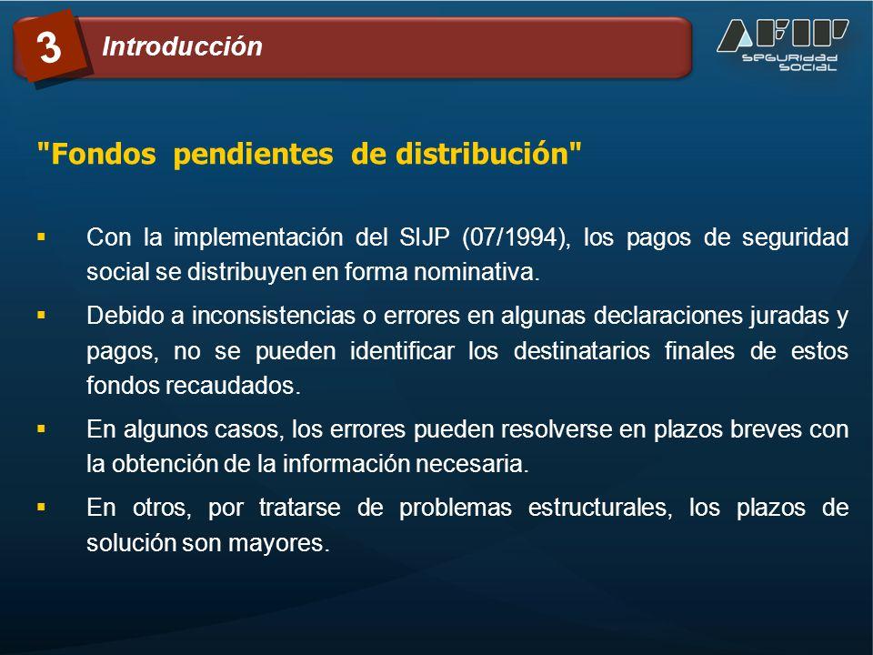 3 Con la implementación del SIJP (07/1994), los pagos de seguridad social se distribuyen en forma nominativa. Debido a inconsistencias o errores en al