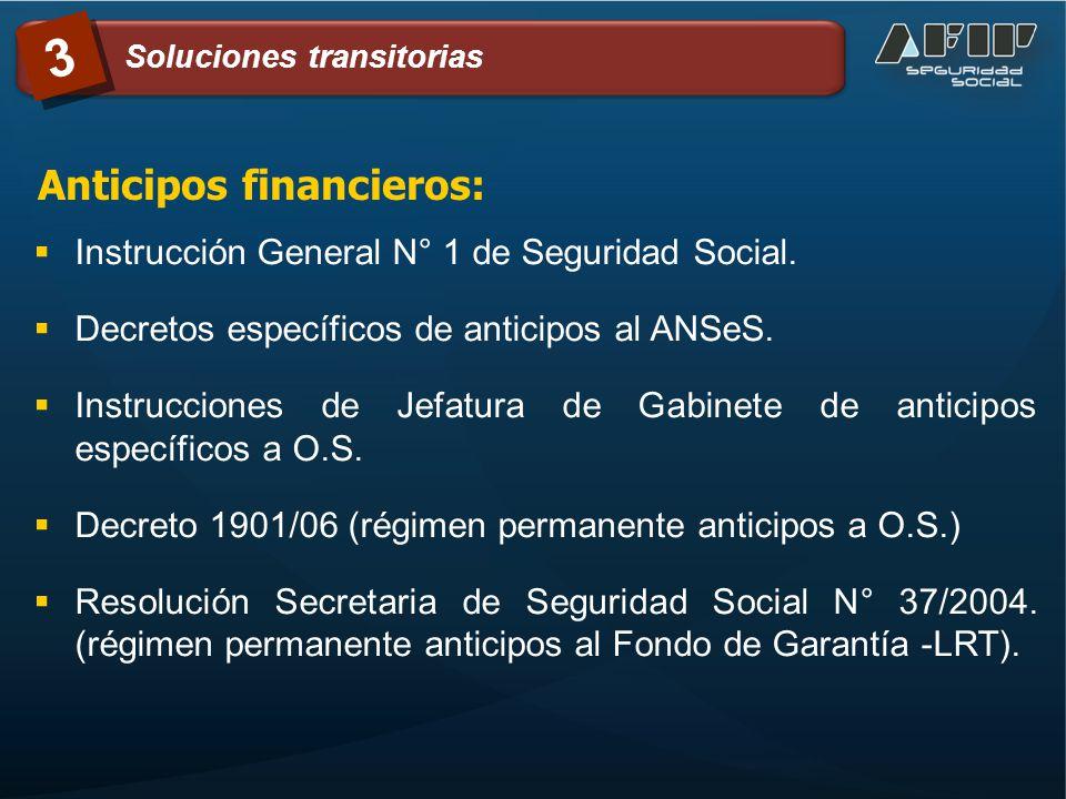 Instrucción General N° 1 de Seguridad Social. Decretos específicos de anticipos al ANSeS. Instrucciones de Jefatura de Gabinete de anticipos específic
