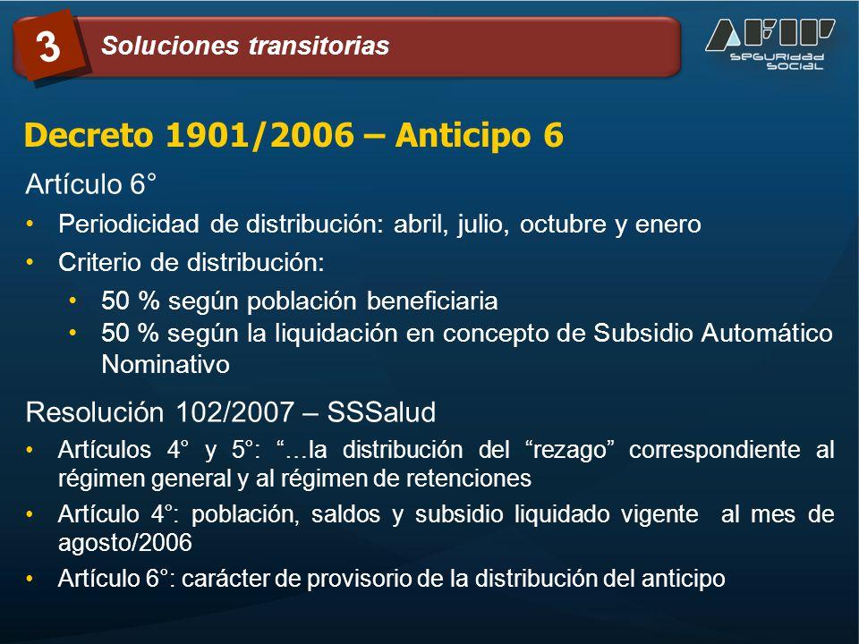 Decreto 1901/2006 – Anticipo 6 Artículo 6° Periodicidad de distribución: abril, julio, octubre y enero Criterio de distribución: 50 % según población