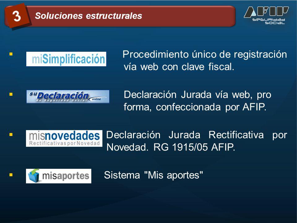 . Procedimiento único de registración vía web con clave fiscal.. Declaración Jurada vía web, pro forma, confeccionada por AFIP.. Declaración Jurada Re