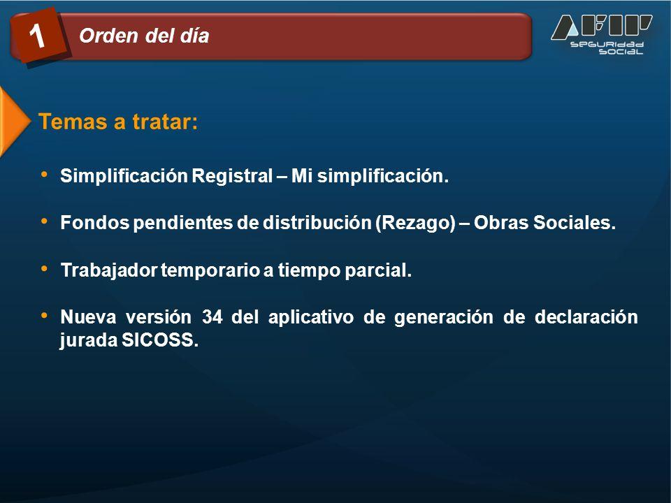Temas a tratar: Simplificación Registral – Mi simplificación. Fondos pendientes de distribución (Rezago) – Obras Sociales. Trabajador temporario a tie
