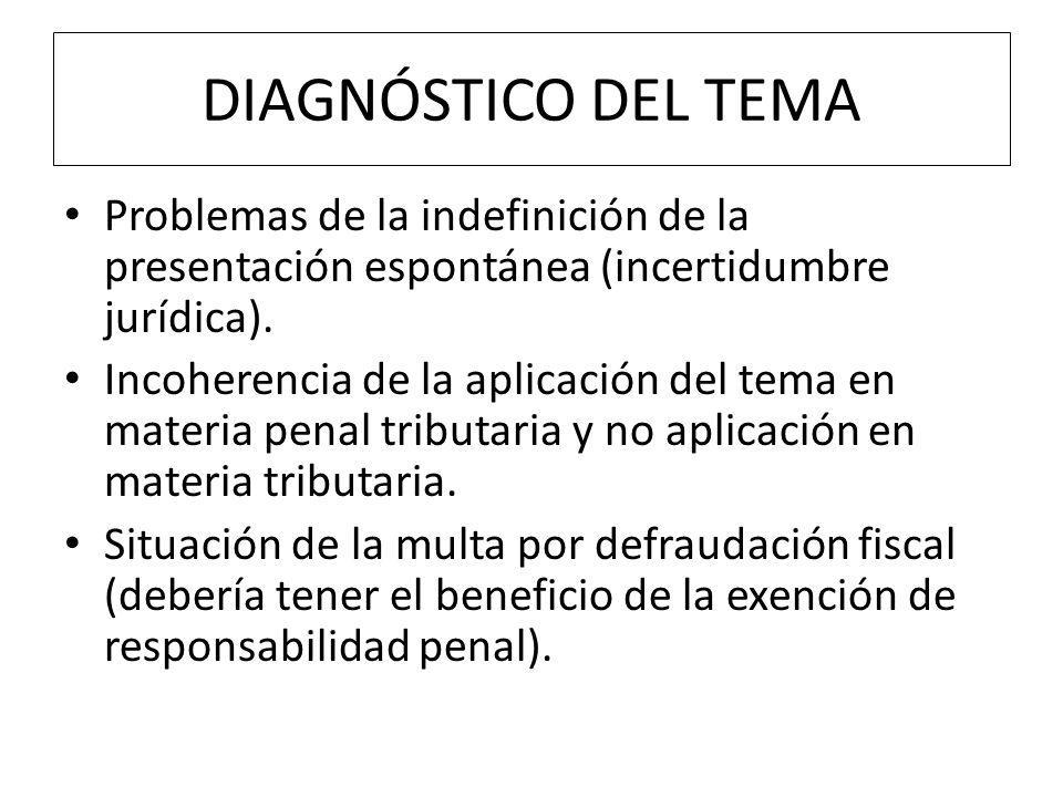 DIAGNÓSTICO DEL TEMA Problemas de la indefinición de la presentación espontánea (incertidumbre jurídica).