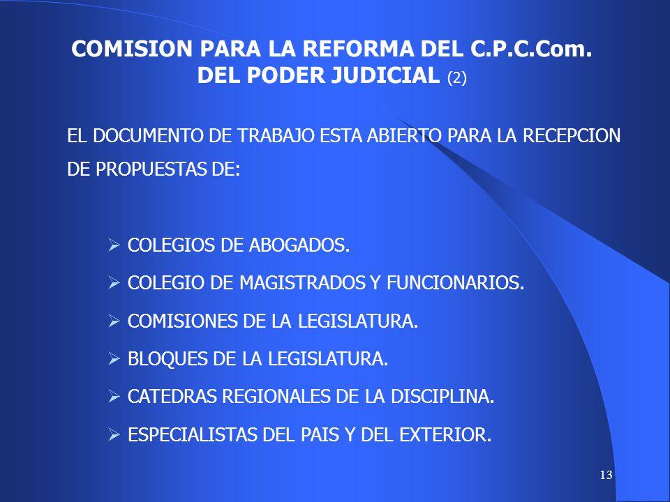 12 EL S.T.J. Y LOS MAGISTRADOS DEL FUERO CIVIL, COMERCIAL Y DE MINERIA INICIARON LA REVISION DEL C.P.C.Com. POSTERIORMENTE SE FORMALIZO LA COMISION. P