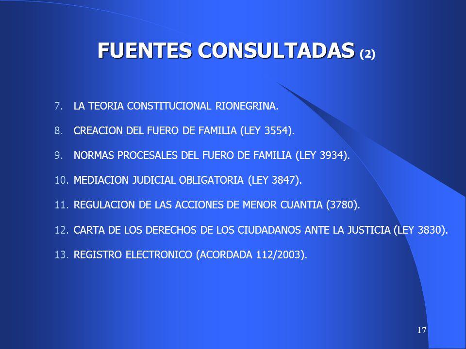 16 1.LA LEY DE ENJUICIAMIENTO CIVIL ESPAÑOLA DE 2000. 2.EL CODIGO IBEROAMERICANO DE VESCOBI Y GELSI BIDART. 3.LEY NACIONAL 25488. 4.LA NORMATIVA PROCE
