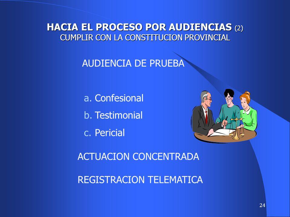 23 HACIA EL PROCESO POR AUDIENCIAS CUMPLIR CON LA CONSTITUCION PROVINCIAL AUDIENCIA PRELIMINAR a.Conciliar. b.Sanear. c.Abreviar. d.Ordenar.