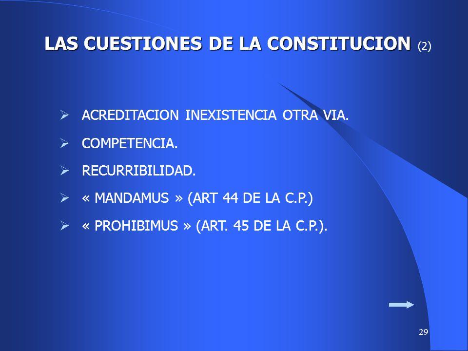 28 LAS CUESTIONES DE LA CONSTITUCION LAS CUESTIONES DE LA CONSTITUCION (1) LAS GARANTIAS PROCESALES ESPECIFICAS DE LA C.P. LA ACCION DE AMPARO. ART. 1