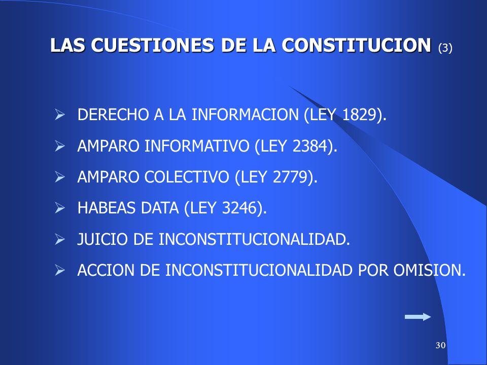 29 LAS CUESTIONES DE LA CONSTITUCION LAS CUESTIONES DE LA CONSTITUCION (2) ACREDITACION INEXISTENCIA OTRA VIA. COMPETENCIA. RECURRIBILIDAD. « MANDAMUS