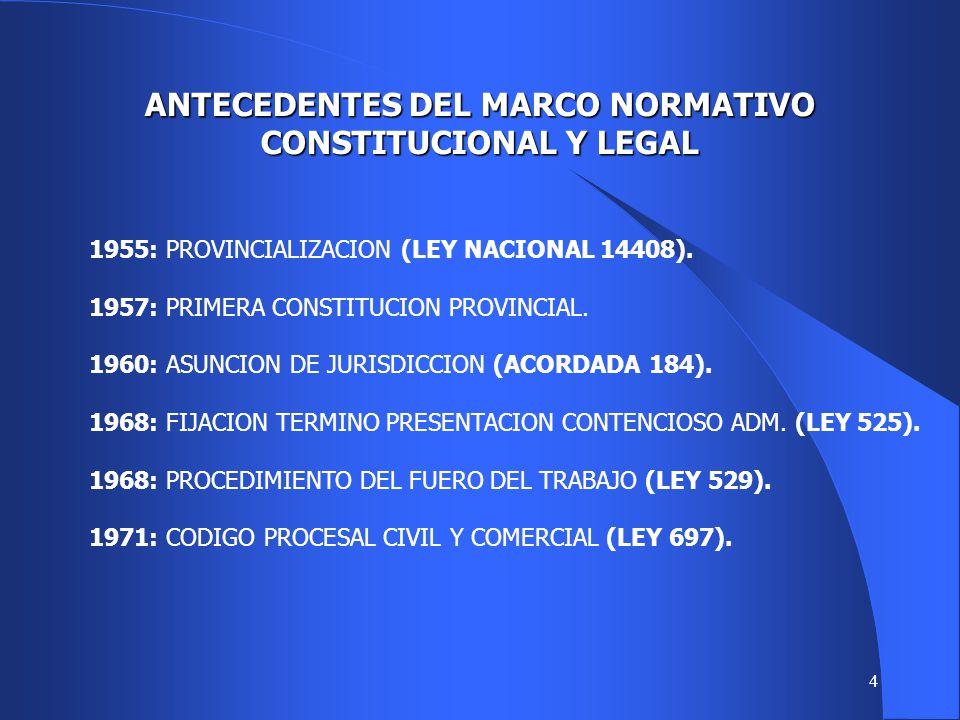 4 ANTECEDENTES DEL MARCO NORMATIVO CONSTITUCIONAL Y LEGAL 1955: PROVINCIALIZACION (LEY NACIONAL 14408).