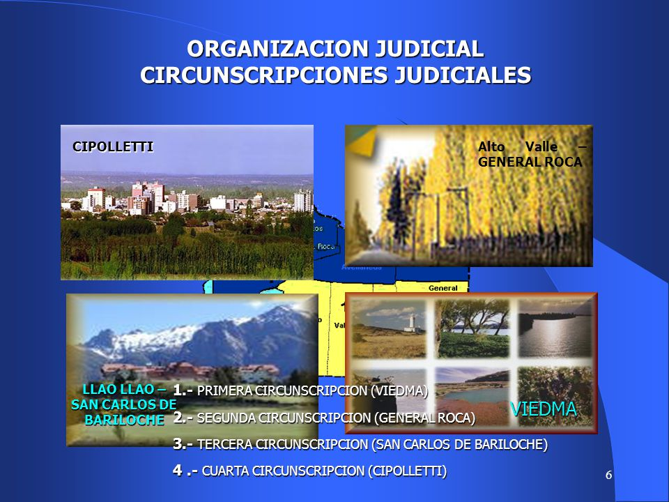 6 ORGANIZACION JUDICIAL CIRCUNSCRIPCIONES JUDICIALES 1.- PRIMERA CIRCUNSCRIPCION (VIEDMA) 2.- SEGUNDA CIRCUNSCRIPCION (GENERAL ROCA) 3.- TERCERA CIRCUNSCRIPCION (SAN CARLOS DE BARILOCHE) 4.- CUARTA CIRCUNSCRIPCION (CIPOLLETTI) VIEDMA LLAO LLAO – SAN CARLOS DE BARILOCHE Alto Valle – GENERAL ROCACIPOLLETTI