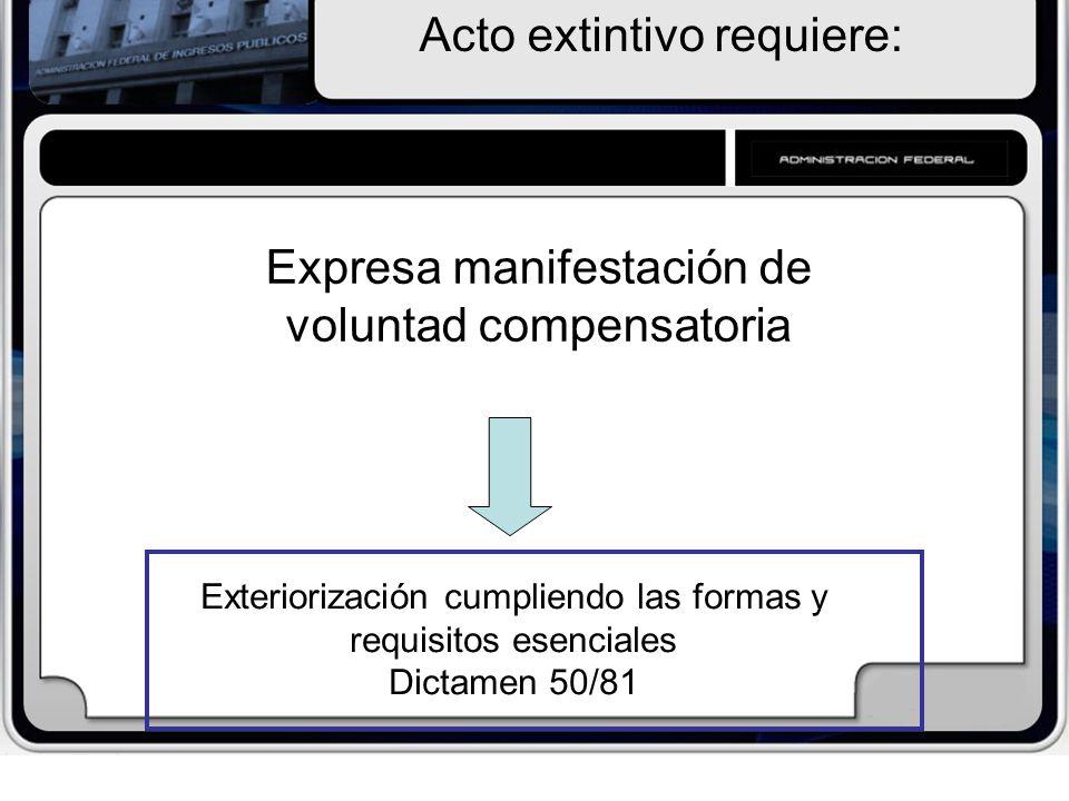 Exteriorización cumpliendo las formas y requisitos esenciales Dictamen 50/81 Acto extintivo requiere: Expresa manifestación de voluntad compensatoria