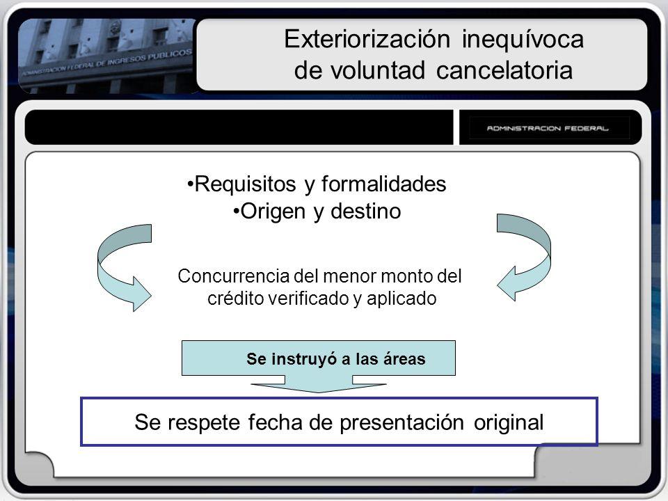 Exteriorización inequívoca de voluntad cancelatoria Requisitos y formalidades Origen y destino Concurrencia del menor monto del crédito verificado y a