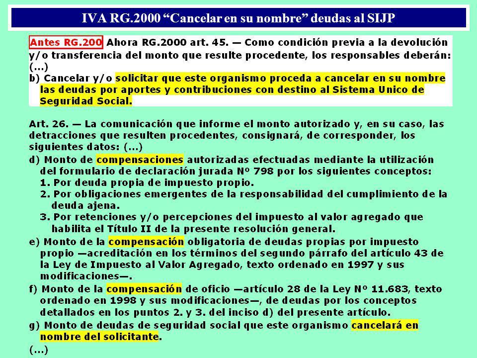 IVA RG.2000 Cancelar en su nombre deudas al SIJP