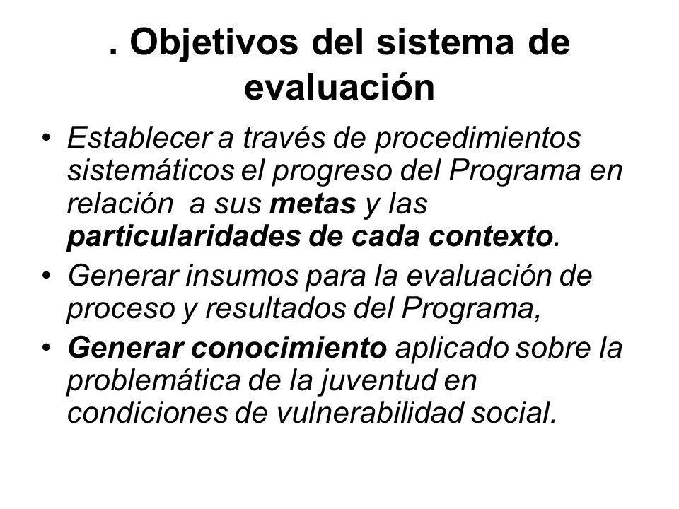 . Objetivos del sistema de evaluación Establecer a través de procedimientos sistemáticos el progreso del Programa en relación a sus metas y las partic