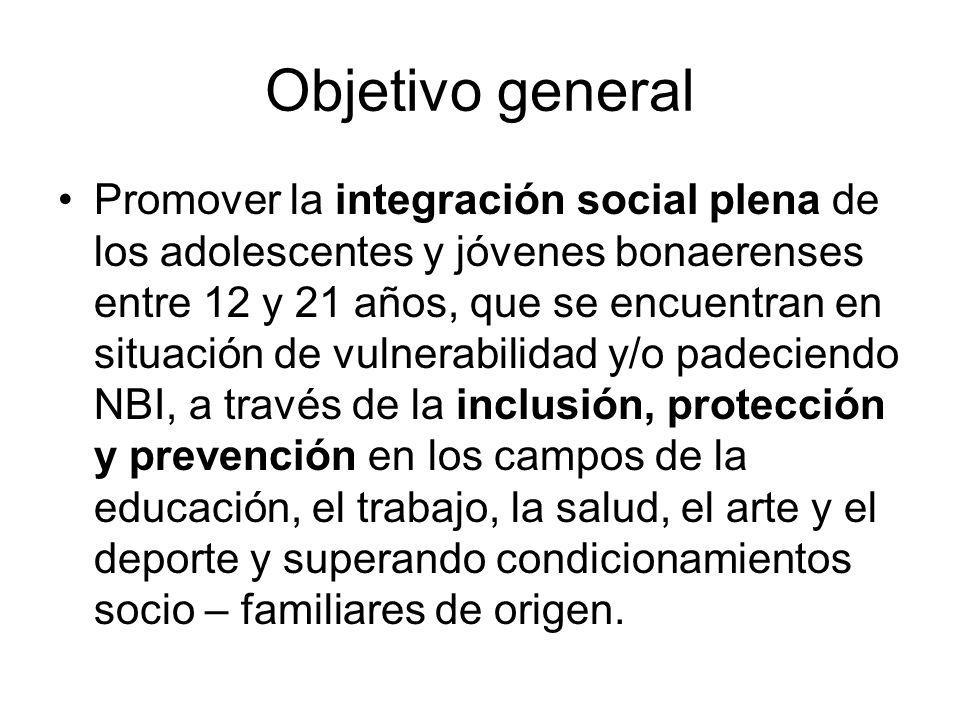 Objetivo general Promover la integración social plena de los adolescentes y jóvenes bonaerenses entre 12 y 21 años, que se encuentran en situación de